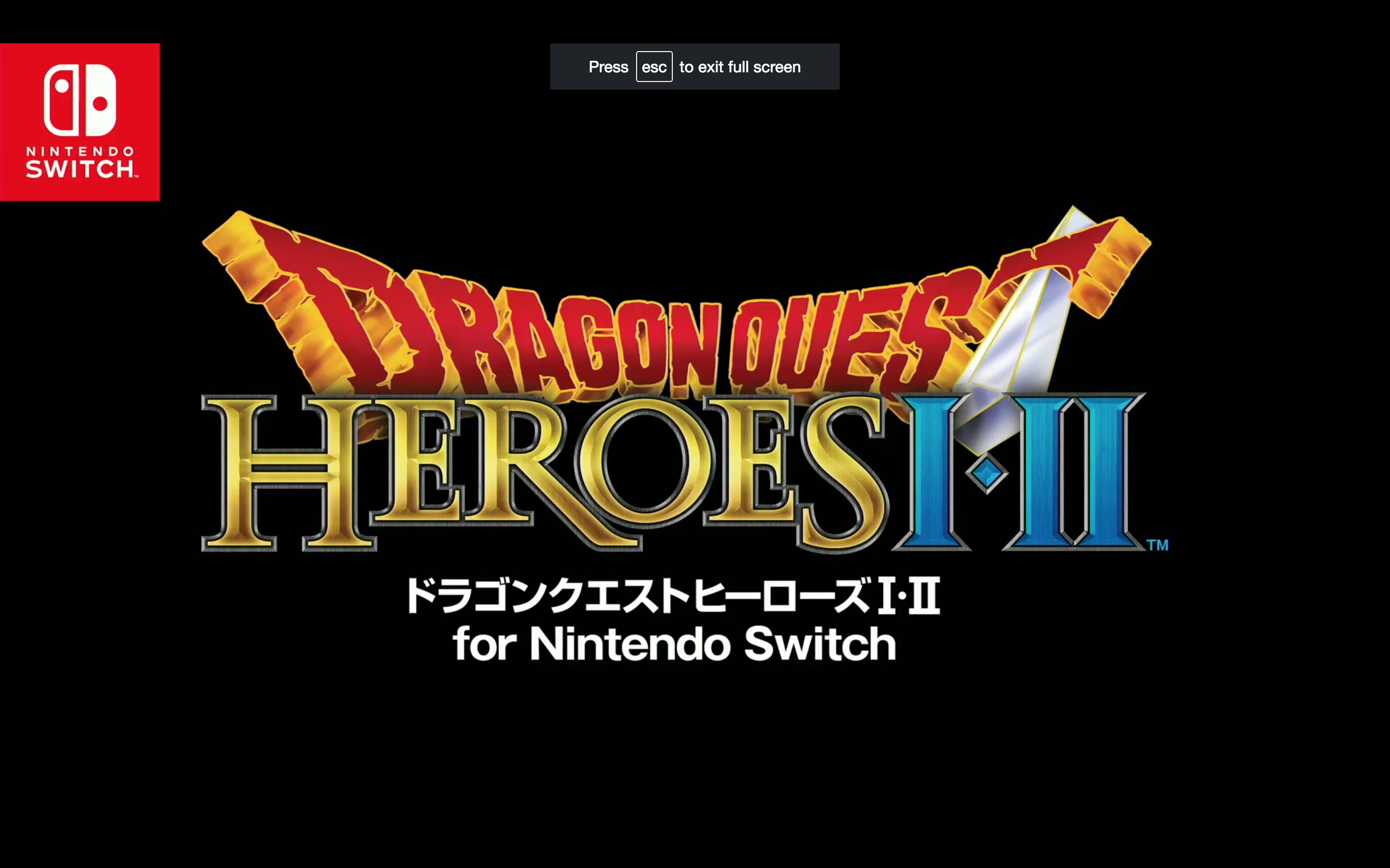 Dragon Quest Heroes I+II title screen from Nintendo Switch presentation