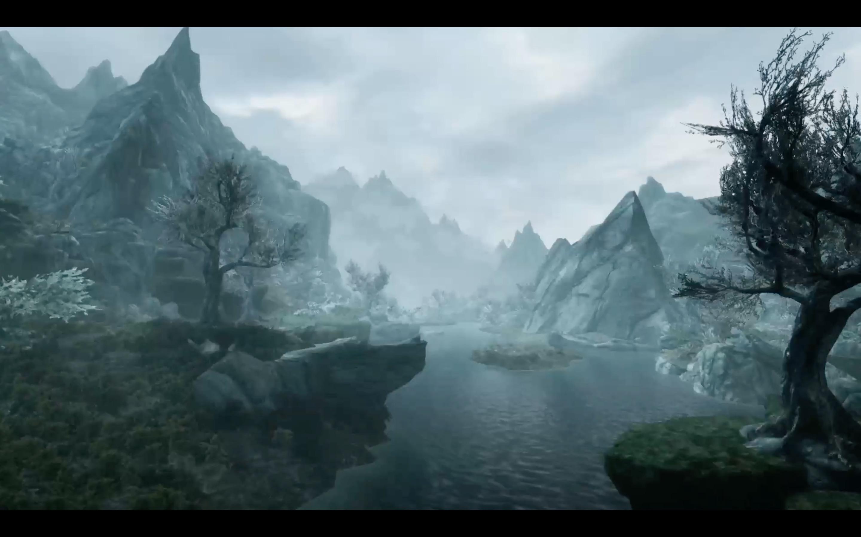 The Elder Scrolls V: Skyrim title screen from Nintendo Switch presentation