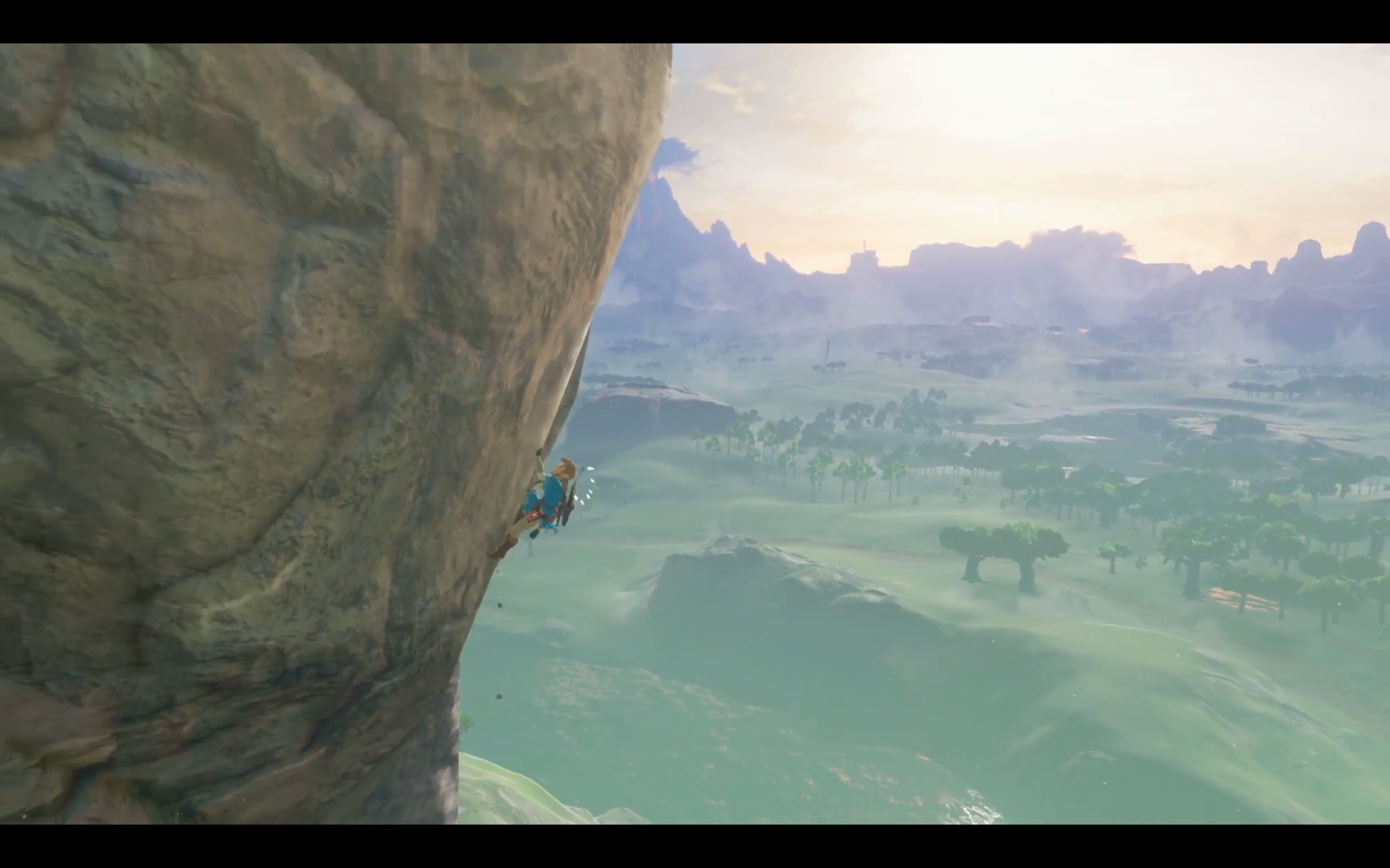 Link climbs a mountain in Nintendo Switch presentation