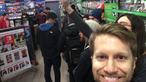 Waiting in line at GameStop