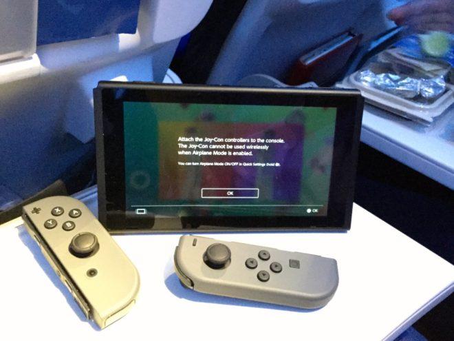 Nintendo Switch Joy-Cons on a plane