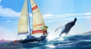 Sailor on boat sees whale breaching