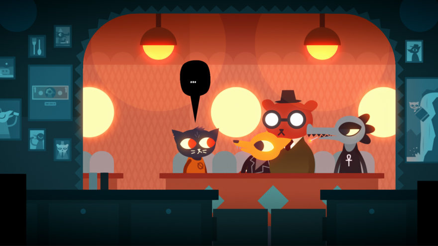 Cartoon characters sitting in a bar