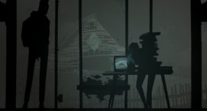 Two silhouettes leaning over a television
